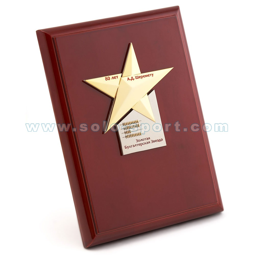 Плакетка Золотая бухгалтерская звезда