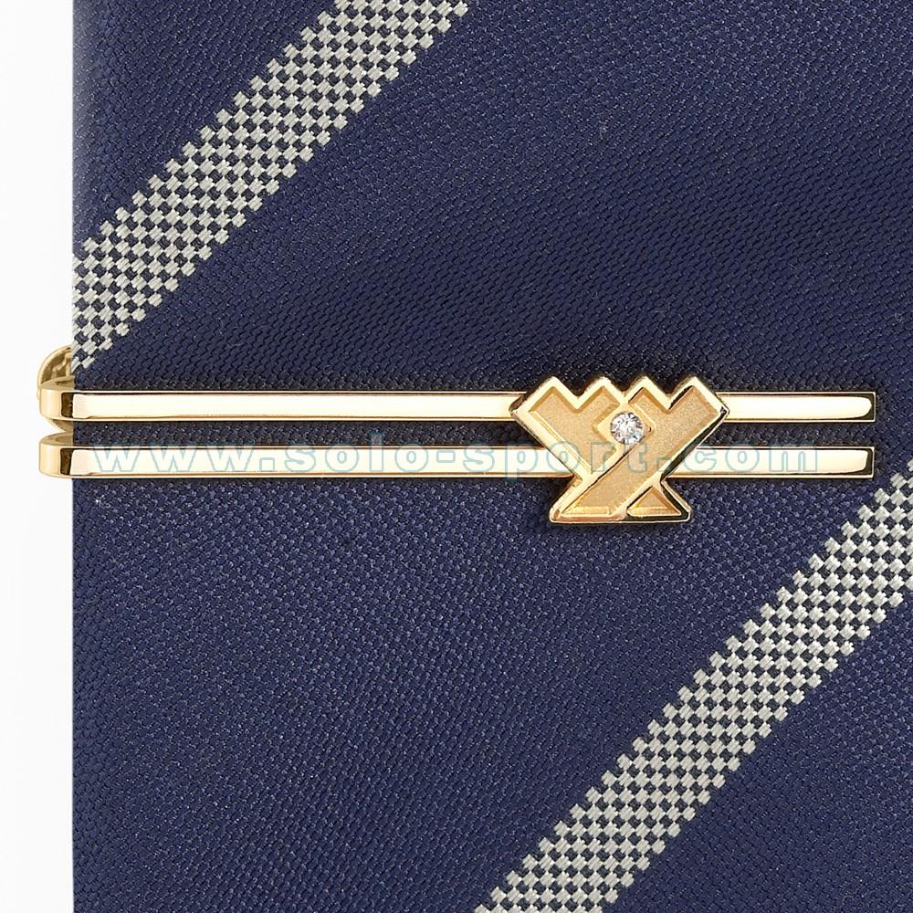 Зажим для галстука золотой с фианитом